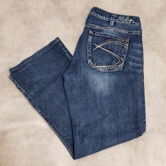 Silver Natsuki 33x33 Faded Wash Distressed Jeans